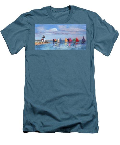 Rainbow Fleet Parade At Brant Point Men's T-Shirt (Slim Fit) by Trina Teele