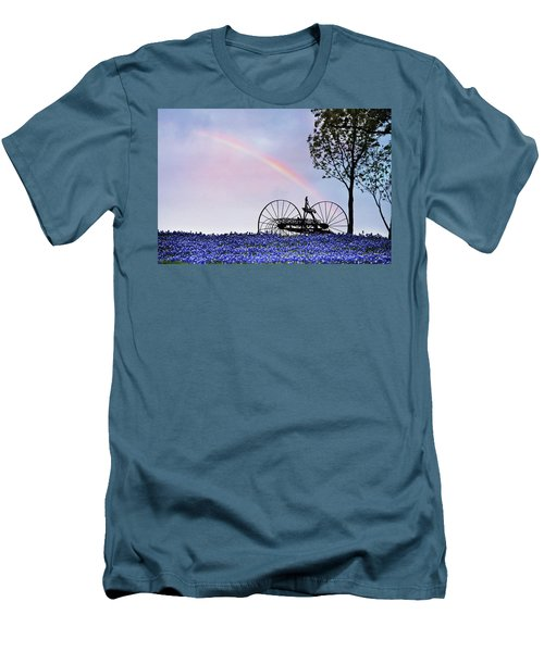 Rainbow Over Texas Bluebonnets Men's T-Shirt (Slim Fit) by David and Carol Kelly