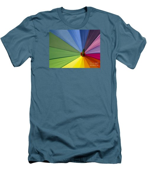 Men's T-Shirt (Slim Fit) featuring the photograph Rainbow Umbrella by Inge Riis McDonald