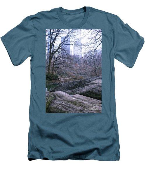 Rainy Day In Central Park Men's T-Shirt (Slim Fit) by Sandy Moulder