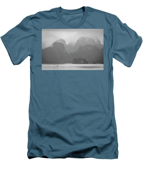 Men's T-Shirt (Athletic Fit) featuring the photograph Rainy Ha Long Bay, Ha Long, 2014 by Hitendra SINKAR