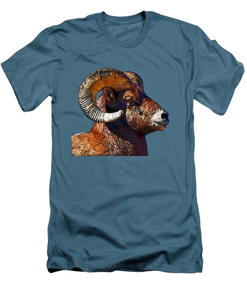 Ram Portrait - Rocky Mountain Bighorn Sheep  Men's T-Shirt (Athletic Fit)
