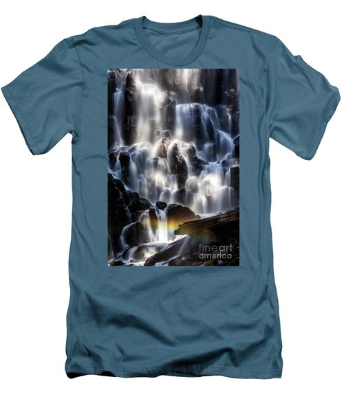 Ramona Falls With Rainbow Men's T-Shirt (Slim Fit) by Patricia Babbitt