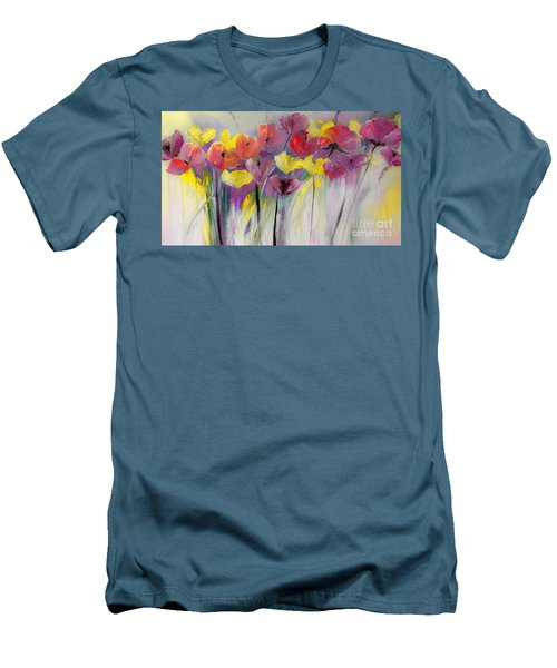 Red And Yellow Floral Field Painting Men's T-Shirt (Slim Fit) by Lisa Kaiser