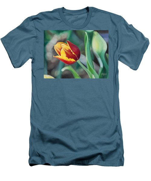 Red And Yellow Tulip Men's T-Shirt (Slim Fit) by Joshua Martin