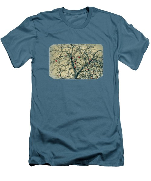 Red Apples In Empty Garden Men's T-Shirt (Slim Fit) by Konstantin Sevostyanov