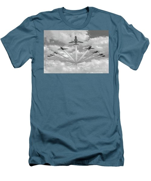 Men's T-Shirt (Athletic Fit) featuring the photograph Red Arrows Smoke On Bw Version by Gary Eason