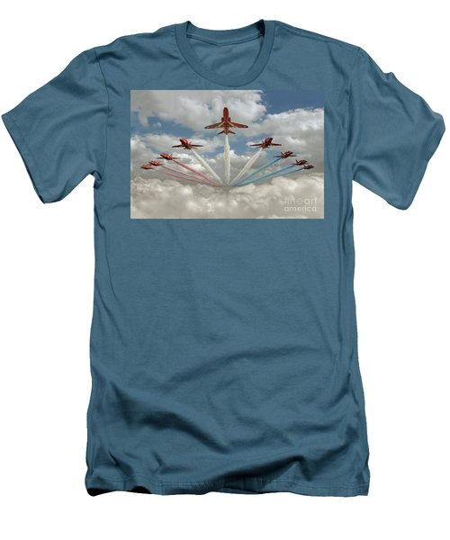 Men's T-Shirt (Athletic Fit) featuring the photograph Red Arrows Smoke On  by Gary Eason
