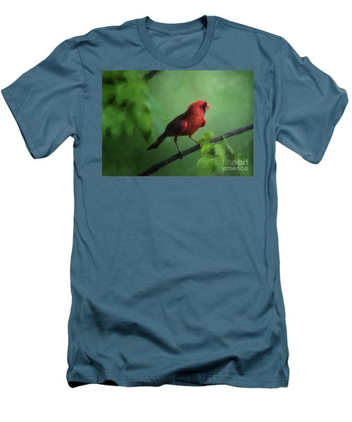Men's T-Shirt (Athletic Fit) featuring the digital art Red Bird On A Hot Day by Lois Bryan