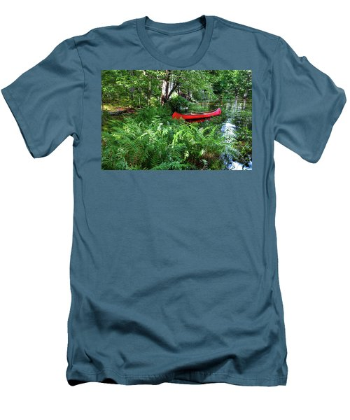 Red Canoe In The Adk Men's T-Shirt (Slim Fit) by David Patterson