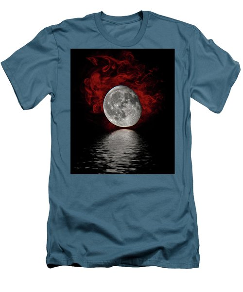 Red Cloud With Moon Over Water Men's T-Shirt (Athletic Fit)