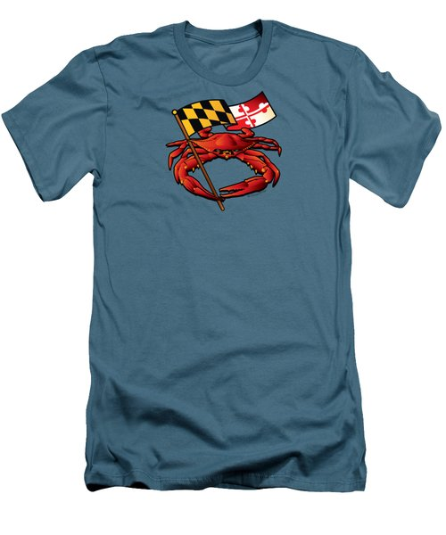 Red Crab Maryland Flag Crest Men's T-Shirt (Athletic Fit)