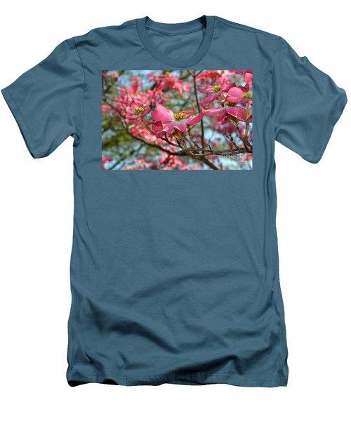Red Dogwood Flowers Men's T-Shirt (Slim Fit) by Eva Kaufman