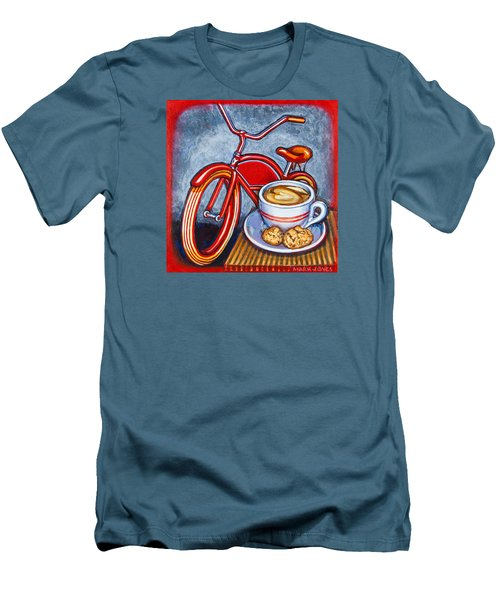 Red Electra Delivery Bicycle Cappuccino And Amaretti Men's T-Shirt (Slim Fit) by Mark Jones