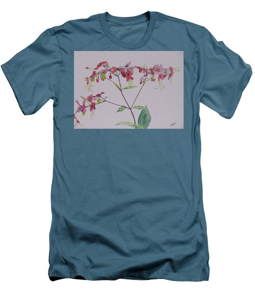 Red Flower Vine Men's T-Shirt (Slim Fit) by Hilda and Jose Garrancho