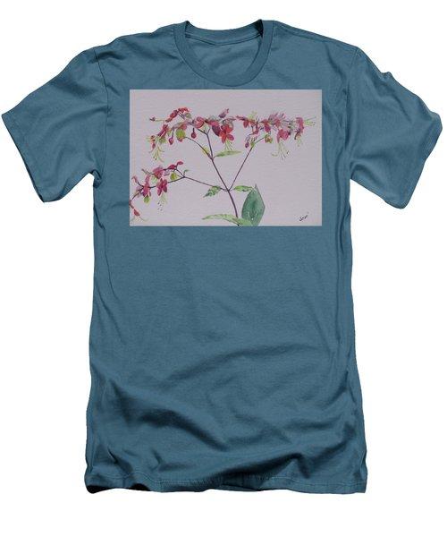 Red Flower Vine Men's T-Shirt (Athletic Fit)