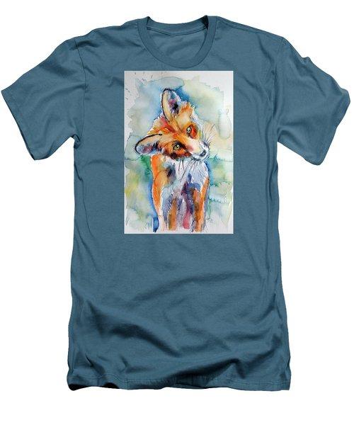 Red Fox Watching Men's T-Shirt (Slim Fit) by Kovacs Anna Brigitta