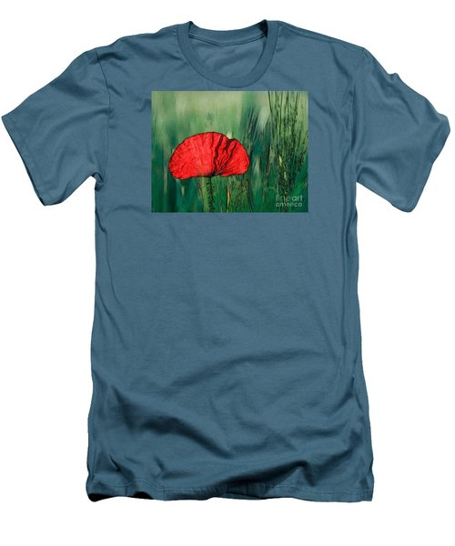 Men's T-Shirt (Slim Fit) featuring the photograph Red Poppy Flower by Jean Bernard Roussilhe