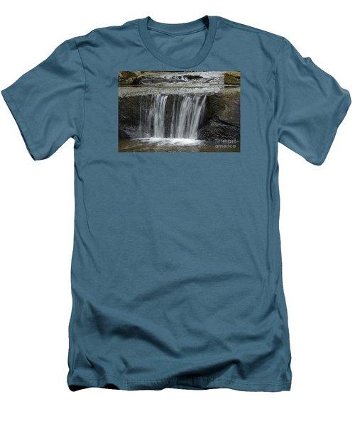 Red Run Waterfall Men's T-Shirt (Slim Fit) by Randy Bodkins