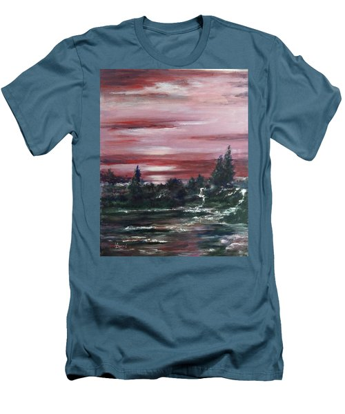 Men's T-Shirt (Slim Fit) featuring the painting Red Sun Set  by Laila Awad Jamaleldin