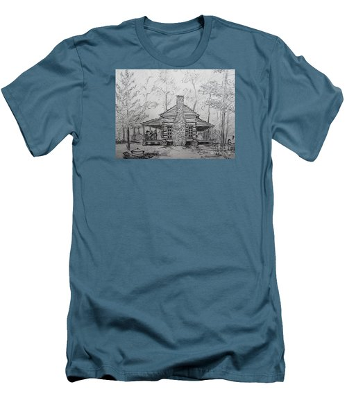 Men's T-Shirt (Slim Fit) featuring the painting Red Top Mountain's Log Cabin by Gretchen Allen