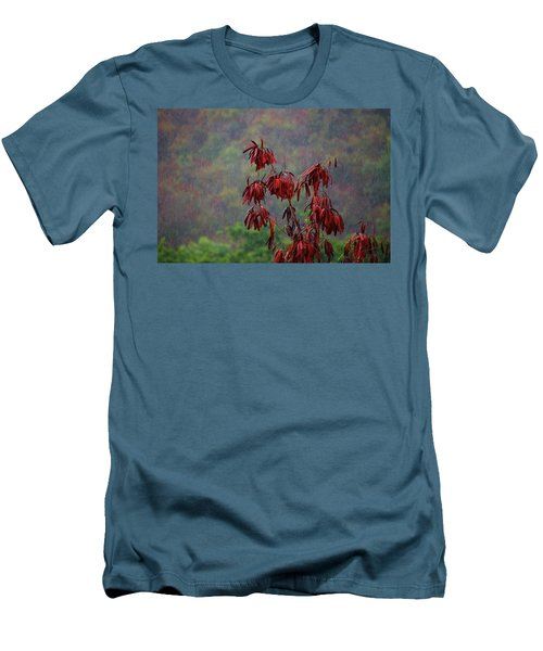 Red Tree In The Rain Men's T-Shirt (Slim Fit) by Michael Thomas
