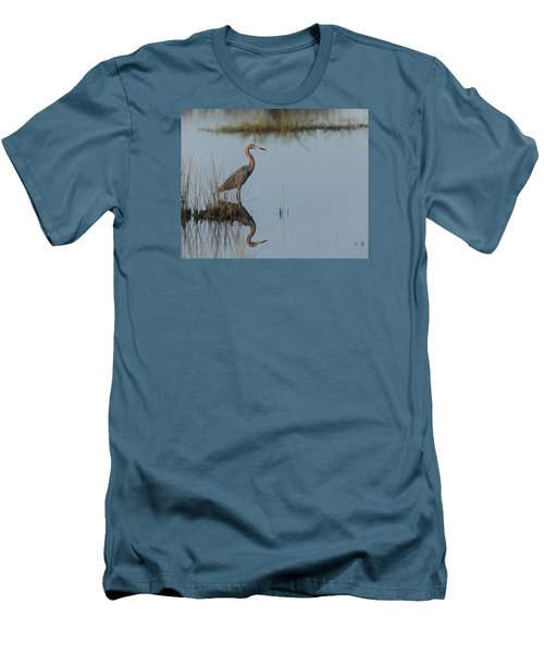 Reddish Egret And Reflection In The Morning Light Men's T-Shirt (Athletic Fit)
