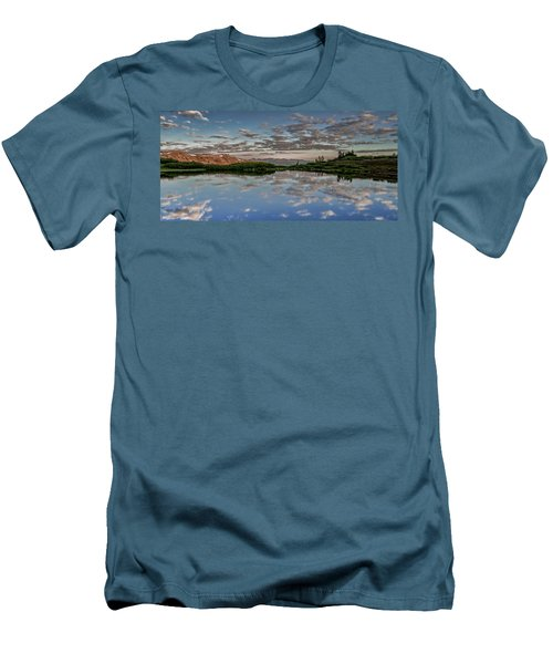 Men's T-Shirt (Slim Fit) featuring the photograph Reflection In A Mountain Pond by Don Schwartz