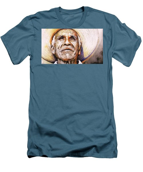 Men's T-Shirt (Slim Fit) featuring the painting Reflections About Earth, Bronze And Sun by J- J- Espinoza