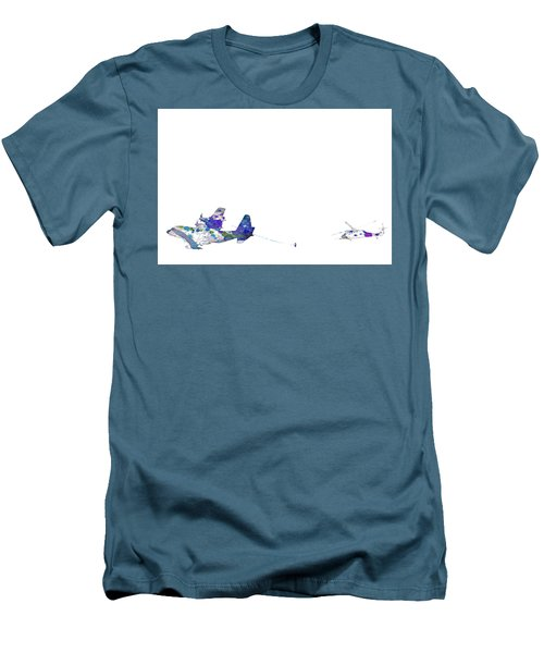 Men's T-Shirt (Slim Fit) featuring the digital art Refueling Watercolor On White by Bartz Johnson