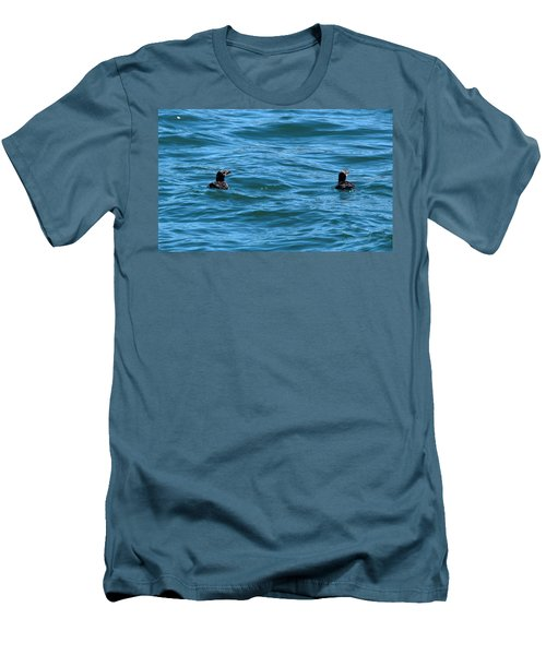 Rhinoceros Auklet Men's T-Shirt (Slim Fit) by Linda Kerkau