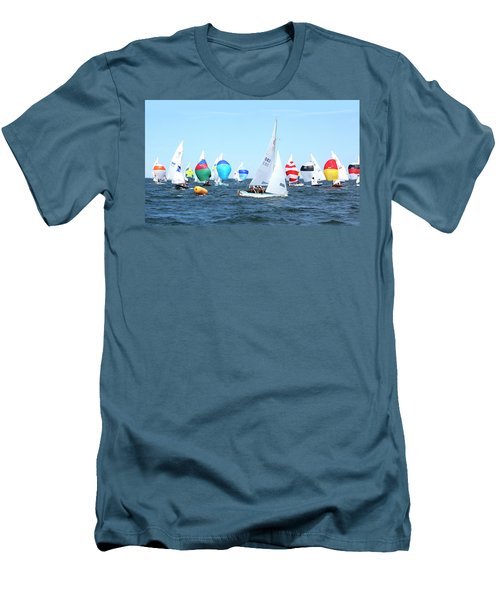 Men's T-Shirt (Athletic Fit) featuring the photograph Rhodes Nationals Sailing Race Dennis Cape Cod by Charles Harden