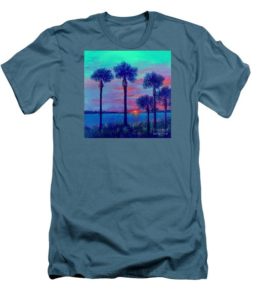 Ringling Bridge Sunset Men's T-Shirt (Slim Fit) by Lou Ann Bagnall