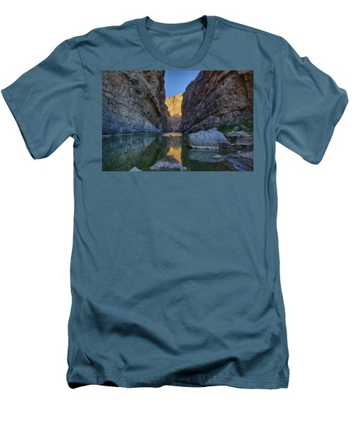 Men's T-Shirt (Slim Fit) featuring the tapestry - textile Rio Grand - Big Bend by Kathy Adams Clark