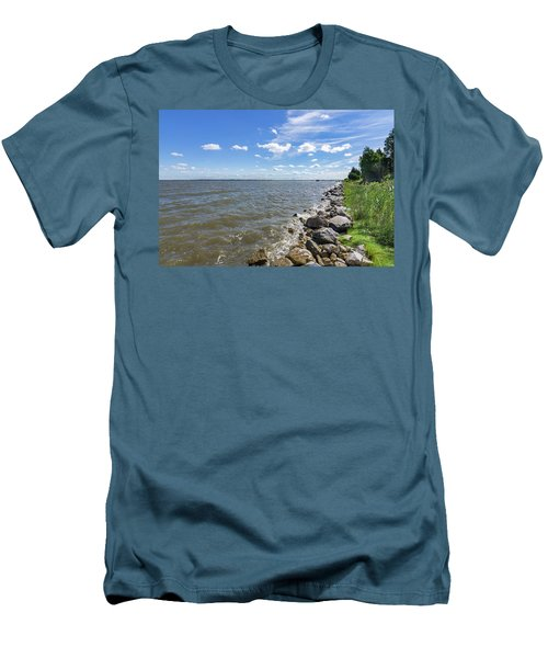 Men's T-Shirt (Athletic Fit) featuring the photograph Rip-rap On The Chester River by Charles Kraus
