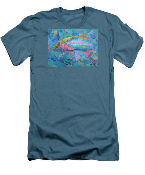 Men's T-Shirt (Slim Fit) featuring the painting River Bow by Nancy Jolley
