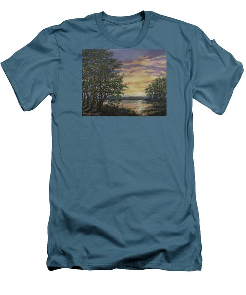 Men's T-Shirt (Slim Fit) featuring the painting River Cove Sundown by Kathleen McDermott