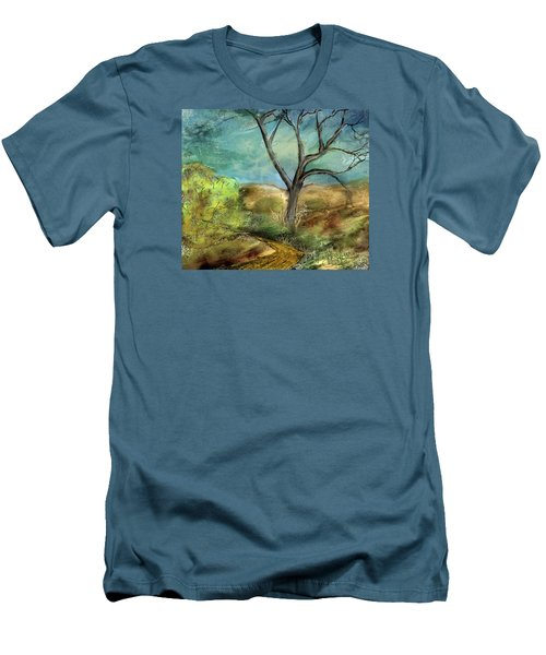 Men's T-Shirt (Slim Fit) featuring the painting Riverbed  by Annette Berglund