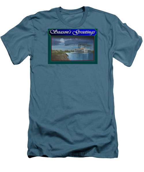Men's T-Shirt (Slim Fit) featuring the painting Riverboat Season's Greetings by Stuart Swartz