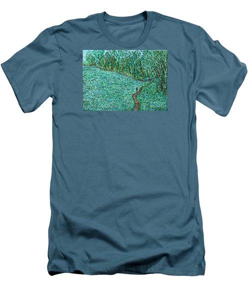 Roadside Green Men's T-Shirt (Slim Fit) by Anna Yurasovsky