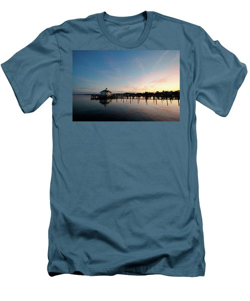 Roanoke Marshes Lighthouse At Dusk Men's T-Shirt (Slim Fit) by David Sutton