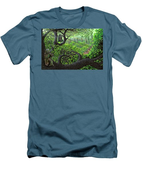 Men's T-Shirt (Slim Fit) featuring the painting Robin Hood by Dave Luebbert