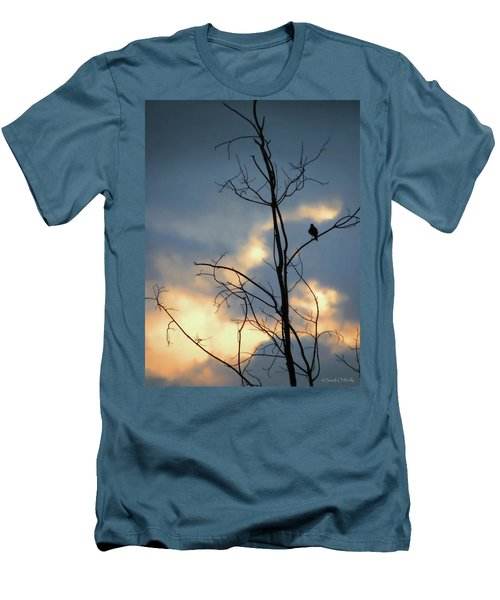 Men's T-Shirt (Slim Fit) featuring the photograph Robin Watching Sunset After The Storm by Sandi OReilly
