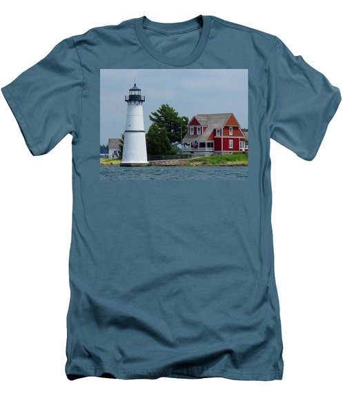 Rock Island Lighthouse July Men's T-Shirt (Athletic Fit)