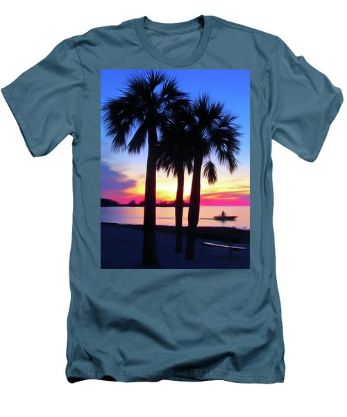 Men's T-Shirt (Athletic Fit) featuring the photograph Romantic Skies Beach Sunset by Aimee L Maher Photography and Art Visit ALMGallerydotcom