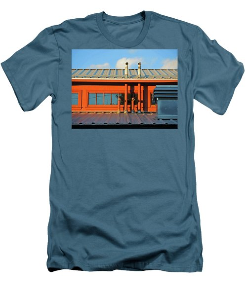Men's T-Shirt (Athletic Fit) featuring the mixed media Roofline Geometry by Lynda Lehmann