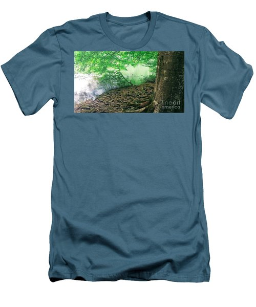 Roots On The River Men's T-Shirt (Slim Fit) by Rachel Hannah