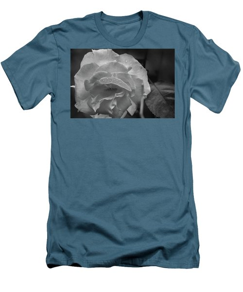 Rose In Black And White Men's T-Shirt (Athletic Fit)