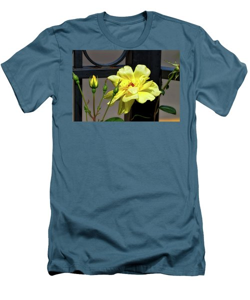 Rose On Wrought Iron Men's T-Shirt (Athletic Fit)