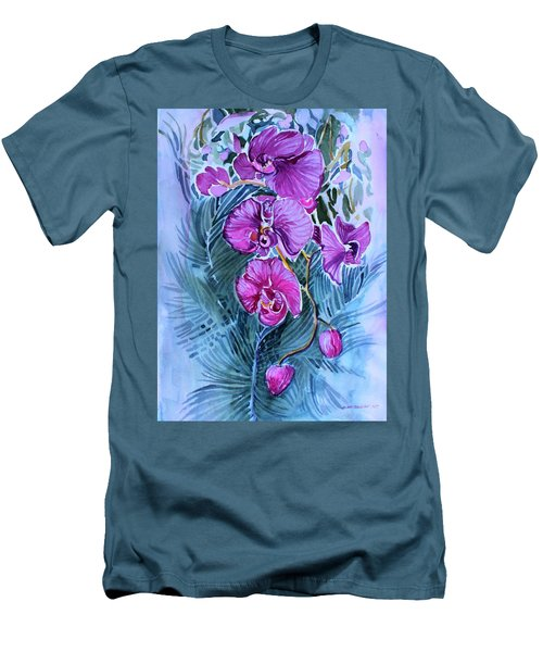 Rose Orchids Men's T-Shirt (Slim Fit) by Mindy Newman